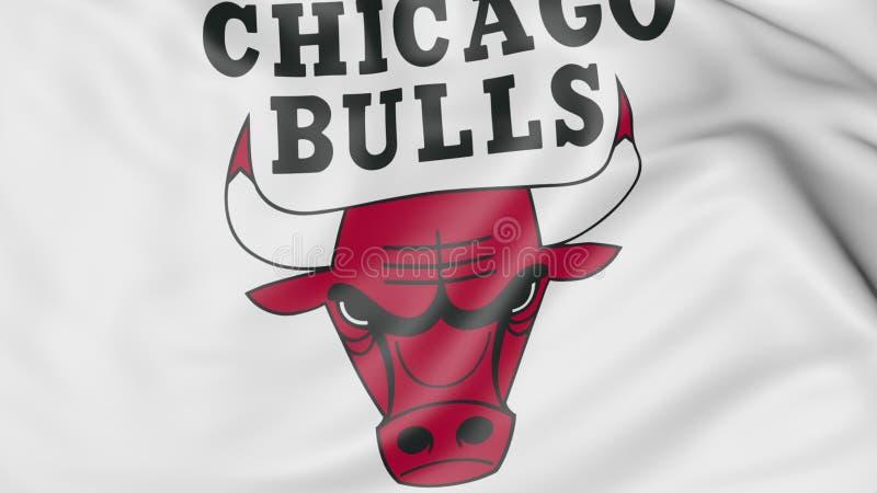 Nahaufnahme der wellenartig bewegenden Flagge mit Chicago Bulls NBA-Basketball-Team-Logo, Wiedergabe 3D stock abbildung