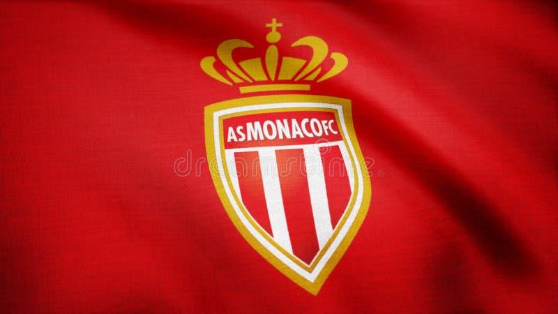 Nahaufnahme der wellenartig bewegenden Flagge mit FC ALS Monaco-Fußballvereinlogo, nahtloser Schleife Redaktionelle Animation lizenzfreie stockbilder