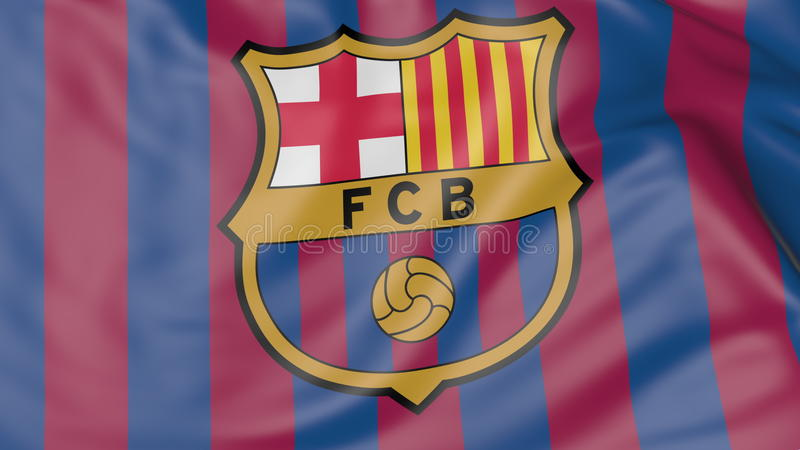 Nahaufnahme der wellenartig bewegenden Flagge mit FC- Barcelonafußball-Vereinlogo stockbild