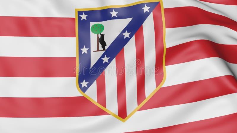 Nahaufnahme der wellenartig bewegenden Flagge mit Fußball-Vereinlogo Atletico Madrid vektor abbildung