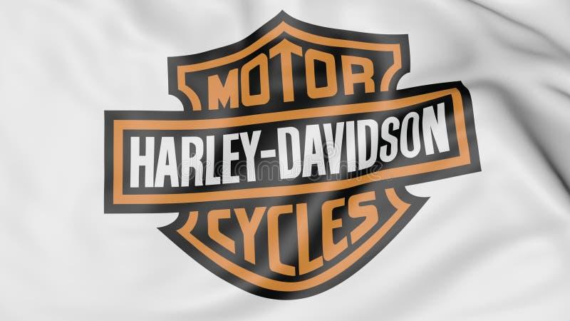 Nahaufnahme der wellenartig bewegenden Flagge mit Harley-Davidson, Inc. Logo, redaktionelle Wiedergabe 3D lizenzfreie abbildung