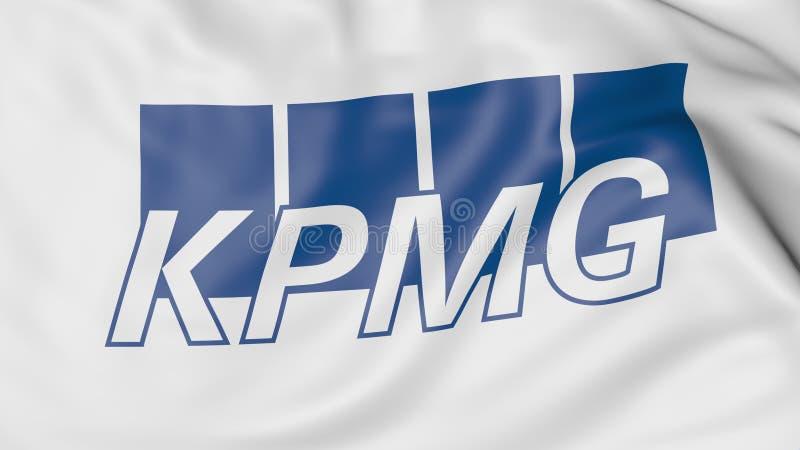 Nahaufnahme der wellenartig bewegenden Flagge mit KPMG-Logo, redaktionelle Wiedergabe 3D stock abbildung