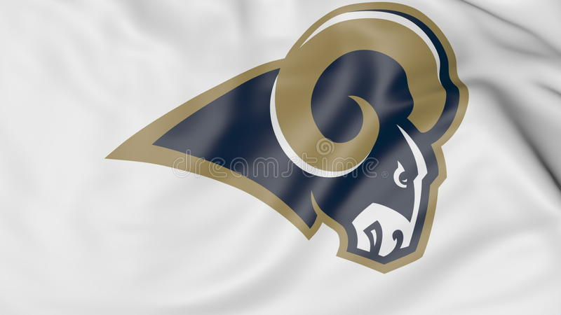 Nahaufnahme der wellenartig bewegenden Flagge mit Los Angeles rammt Teamlogo amerikanischen Fußballs NFL, Wiedergabe 3D vektor abbildung