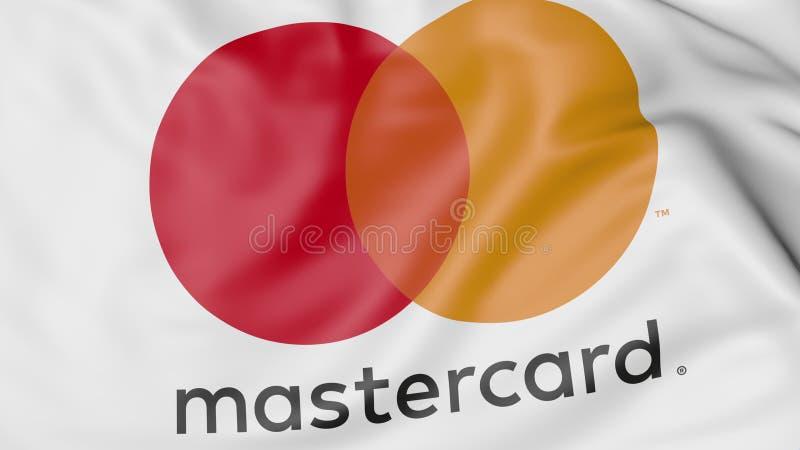 Nahaufnahme der wellenartig bewegenden Flagge mit MasterCard-Logo, redaktionelle Wiedergabe 3D lizenzfreie abbildung