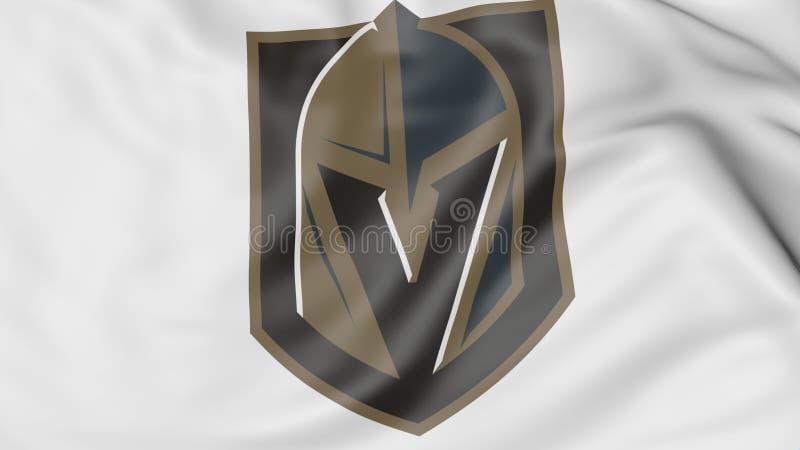 Nahaufnahme der wellenartig bewegenden Flagge mit Ritter Vegas goldenem NHL-Hockey-Team-Logo Redaktionelle Wiedergabe 3D vektor abbildung