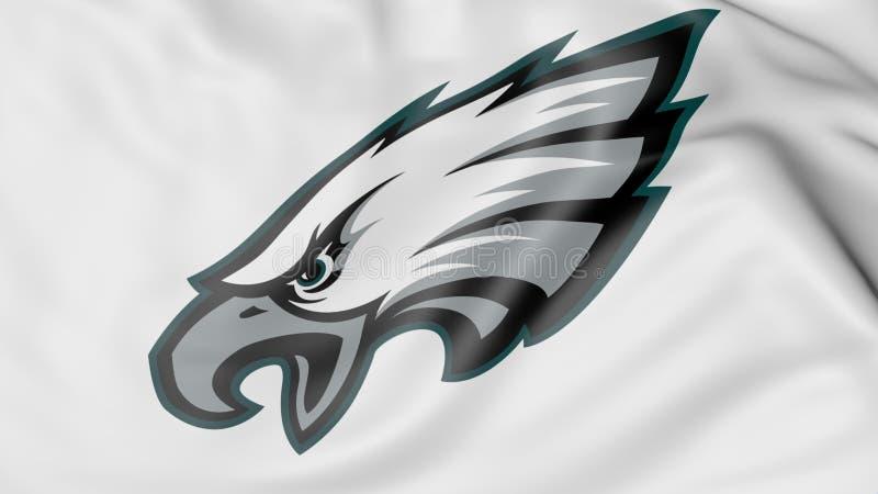 Nahaufnahme der wellenartig bewegenden Flagge mit Teamlogo amerikanischen Fußballs Philadelphia Eagles NFL, Wiedergabe 3D lizenzfreie abbildung