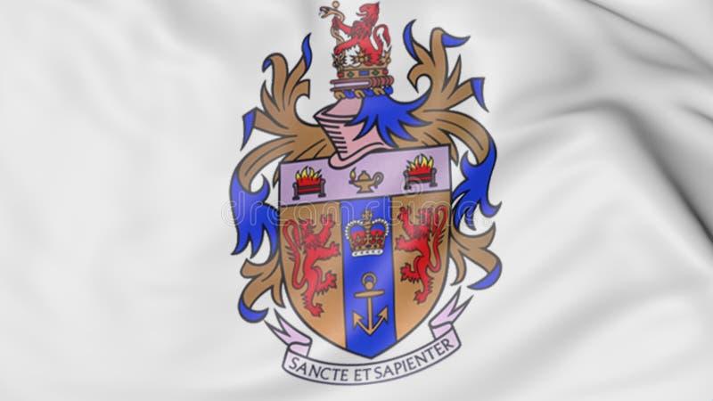 Nahaufnahme der wellenartig bewegenden Flagge mit Wiedergabe Emblems 3D Könige College London stock abbildung