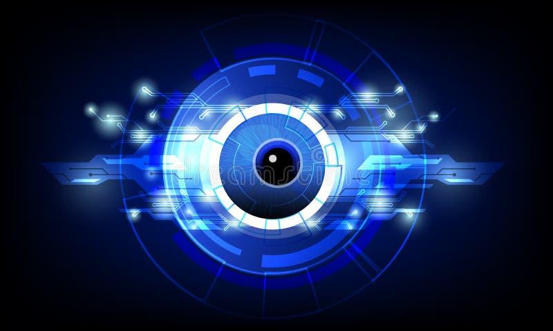 Nahaufnahme des Auges mit dunkelblauem High-Techem Hintergrund der abstrakten Konzeptvektor-Illustration der Technologiestromkrei vektor abbildung