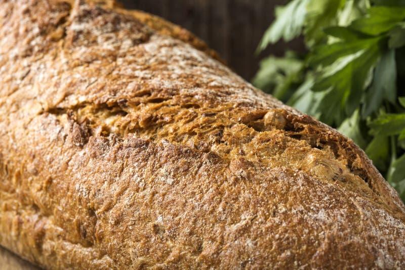 Nahaufnahme des frisch gebackenen selbst gemachten Brotes und der Petersilie stockfotografie