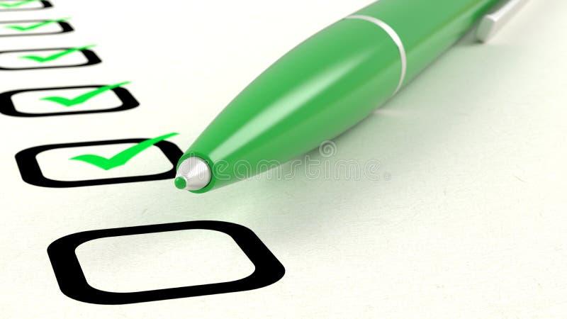 Nahaufnahme des grünen Stiftes tickend ein Verzeichnis der Abbildungen der Einzelteile 3D lizenzfreie abbildung