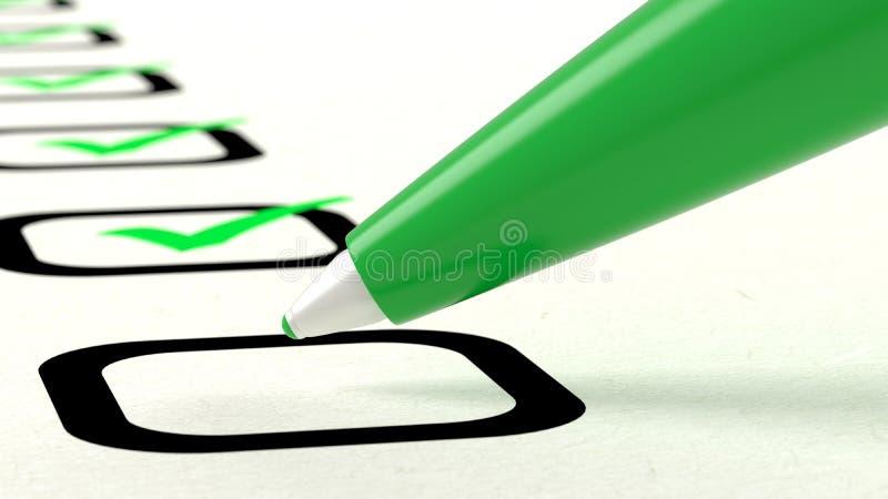 Nahaufnahme des grünen Stiftes tickend ein Verzeichnis der Abbildungen der Einzelteile 3D vektor abbildung