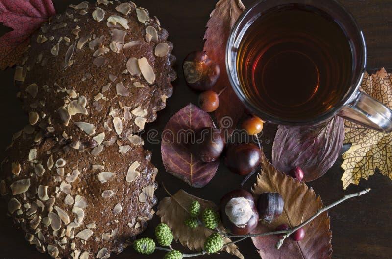 Nahaufnahme des herbstlichen Dekors mit Tasse Tee und gewürzte Kekse, auf rustikalem hölzernem Hintergrund stockbilder