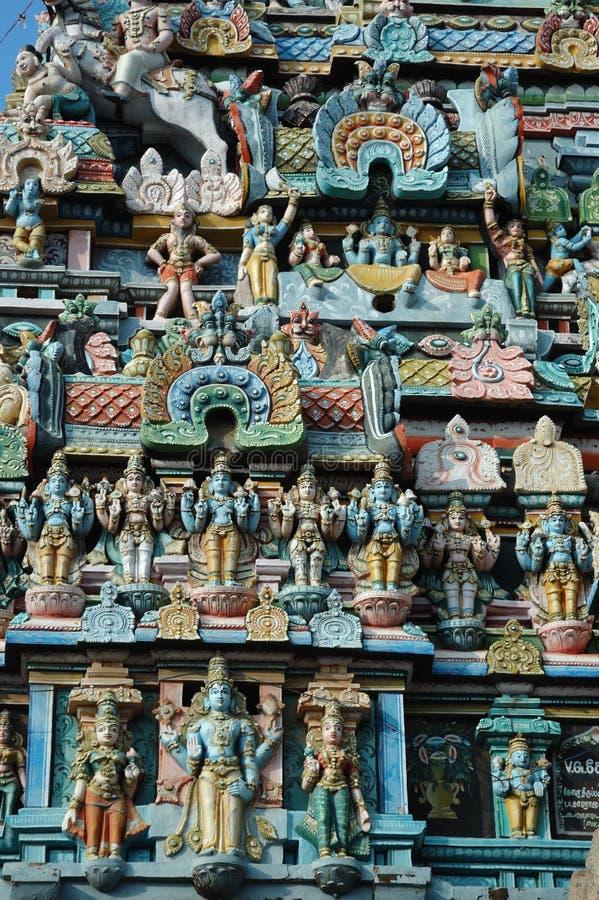 Nahaufnahme des hinduistischen Srirangam Tempels in Trichy, Indien stockbild