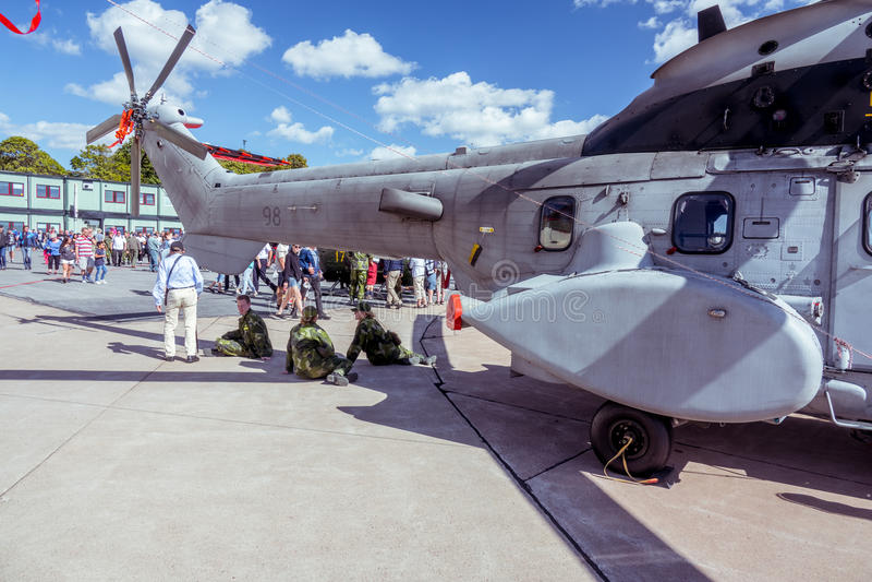 Nahaufnahme des Hubschraubers an der Flugschau stockfotografie