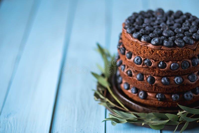Nahaufnahme des köstlichen Kuchens der Schokolade mit Blaubeeren stockbild