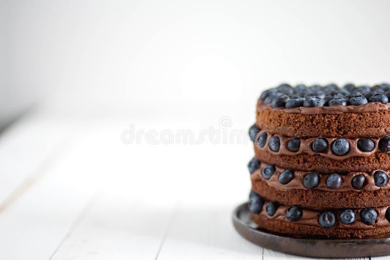 Nahaufnahme des köstlichen Kuchens der Schokolade mit Blaubeeren auf einem weißen Hintergrund lizenzfreie stockfotografie