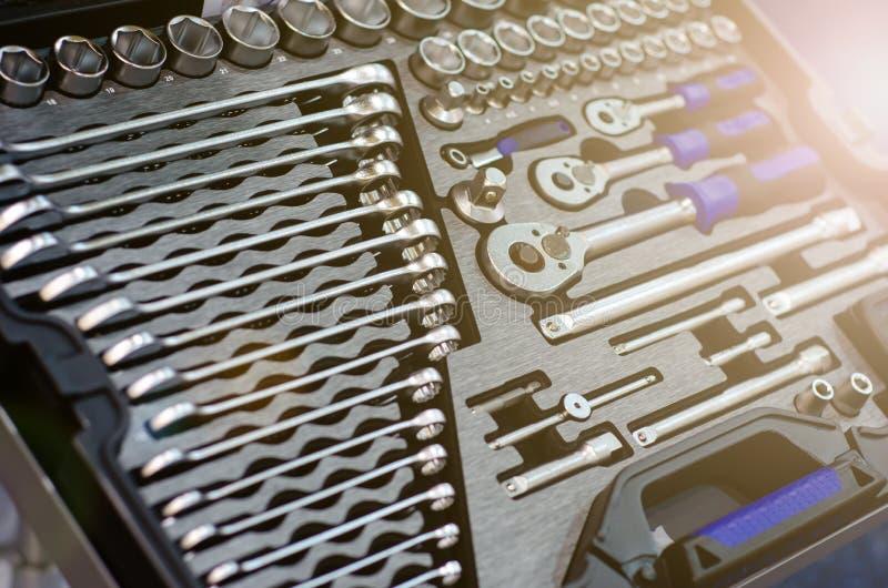 Nahaufnahme des Mechaniker-Tool-Kit lizenzfreies stockfoto
