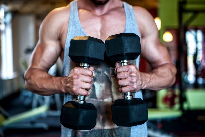 Nahaufnahme des muskulösen und athletischen jungen sexy Mannes, der dumbbel hält stockfoto