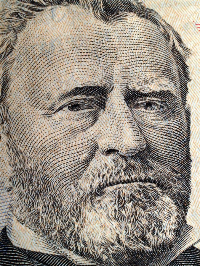 Nahaufnahme des Portraits von Grant auf US fünfzig Dollar stockfotos