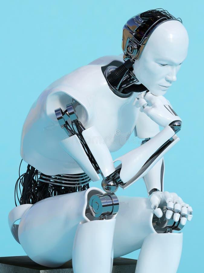 Nahaufnahme des Robotermannes in denkender Haltung stock abbildung