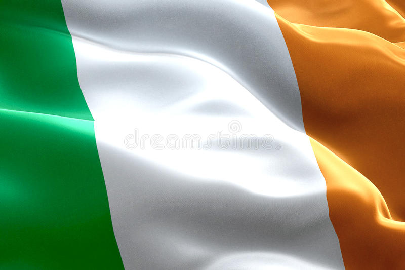 Nahaufnahme des Wellenartig bewegens keltischer Flagge Irlands, nationales Sonderzeichen des irischen Zeichens lizenzfreie abbildung