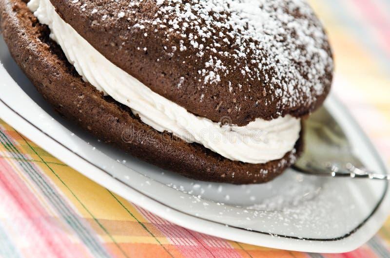 Whoopie Torten-Schokoladenkuchen lizenzfreies stockbild