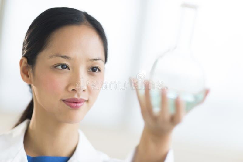 Nahaufnahme des Wissenschaftlers Analyzing Chemical Solution lizenzfreies stockfoto