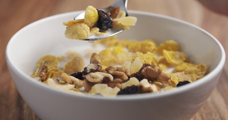 Nahaufnahme, die mit einem Löffelfrühstück mit Corn Flakes und Mischung von Nüssen und von Früchten isst stockfotografie