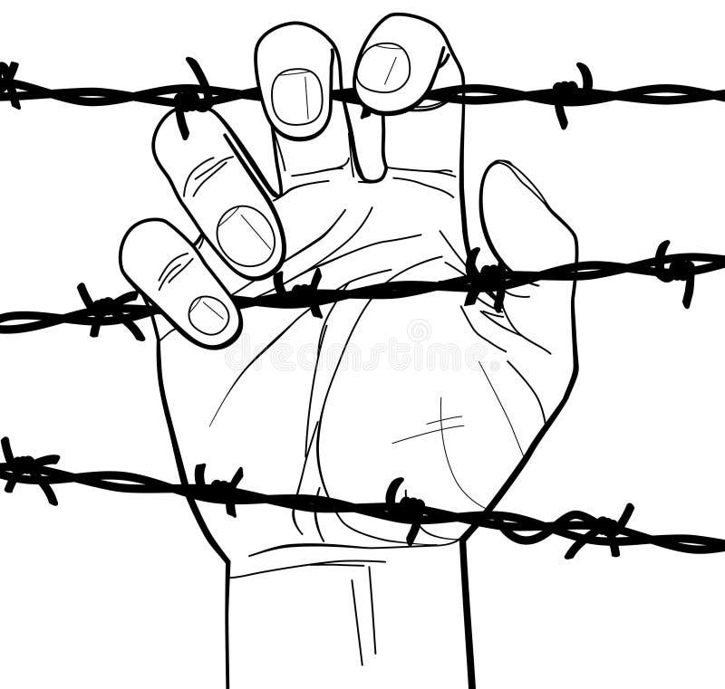 Nahaufnahme einer Hand auf Stacheldraht stock abbildung
