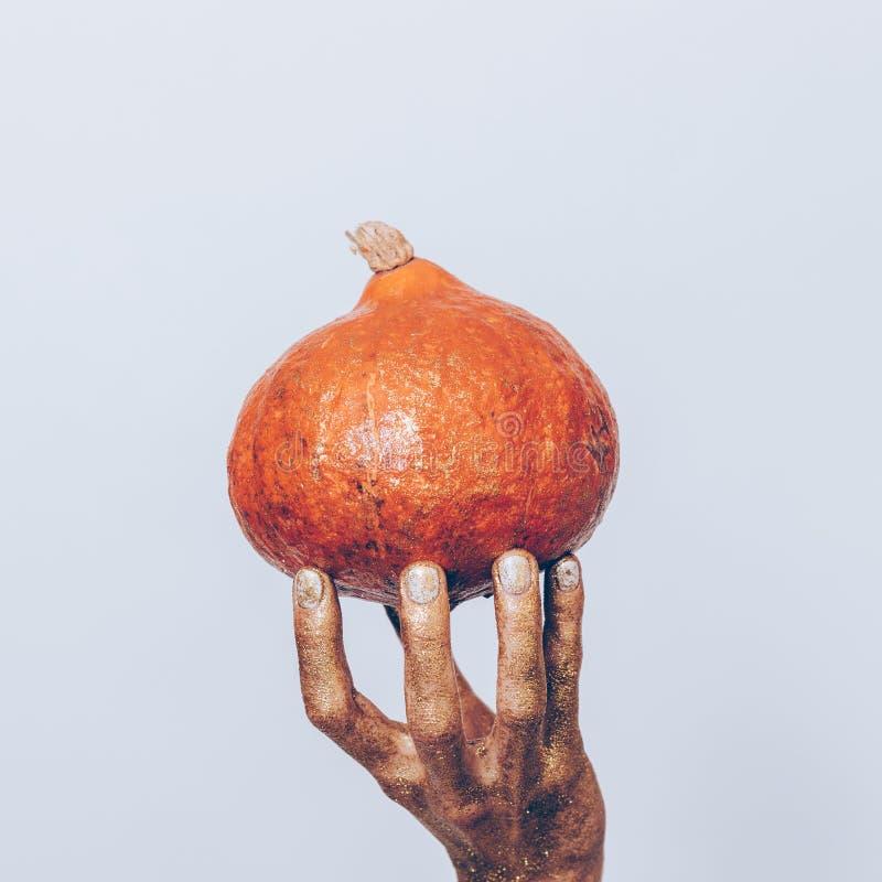 Nahaufnahme einer weiblichen Hand in einer Goldfarbe, die eine orange Pumpe hält lizenzfreie stockbilder