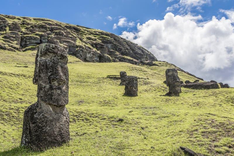 Nahaufnahme eines begrabenen moai auf dem Rano Raraku-Hügel lizenzfreies stockbild