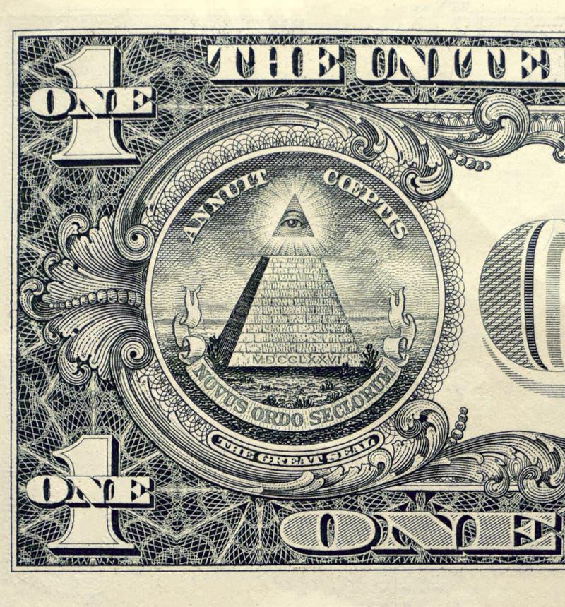 Nahaufnahme eines Dollarscheins mit allem sehenden Auge lizenzfreie stockfotos