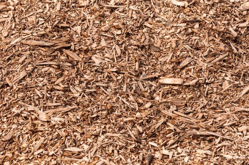 Nahaufnahme eines Haufens der Holzspäne von zerrissenen Bäumen lizenzfreies stockbild