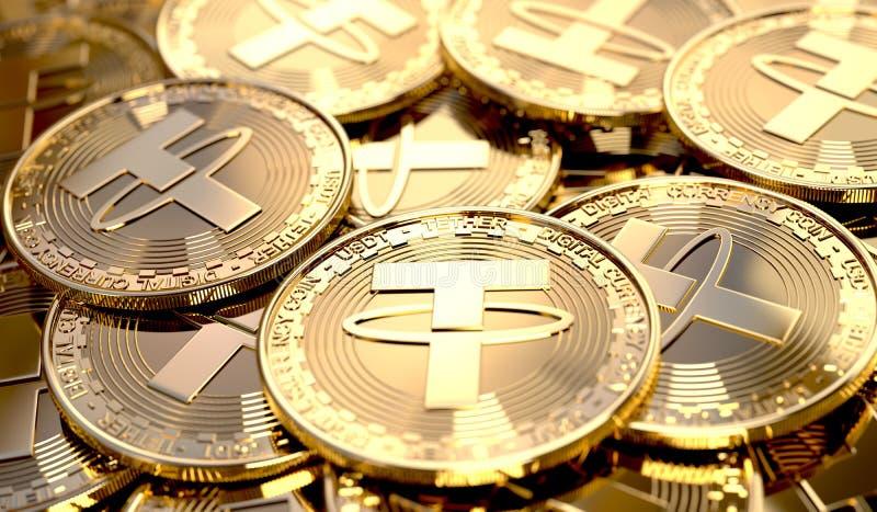 Nahaufnahme eines Stapels der Leinenmünzen lizenzfreie abbildung