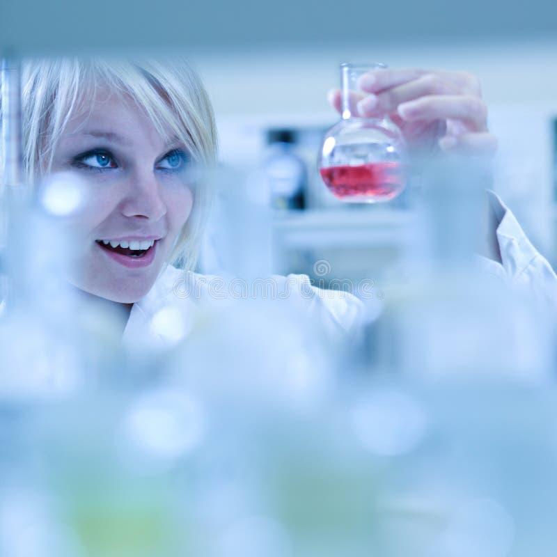 Nahaufnahme eines weiblichen Forschers stockbild