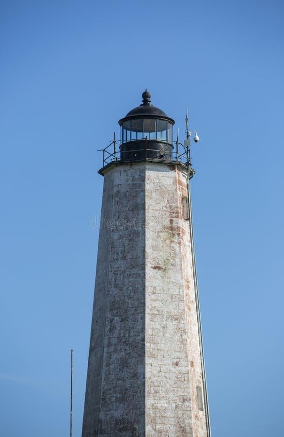 Nahaufnahme fünf Meilen-Leuchtturm am Punkt-Park, New-Haven, Connecticut lizenzfreies stockbild