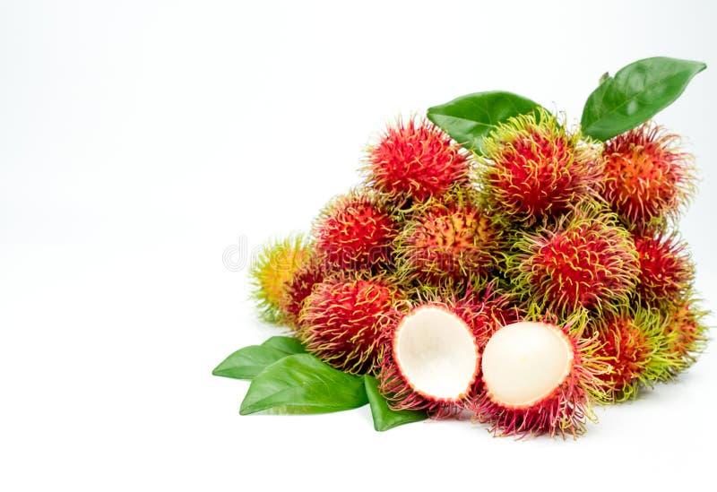 Nahaufnahme frischen roten reifen Rambutan Nephelium lappaceum lizenzfreie stockfotografie