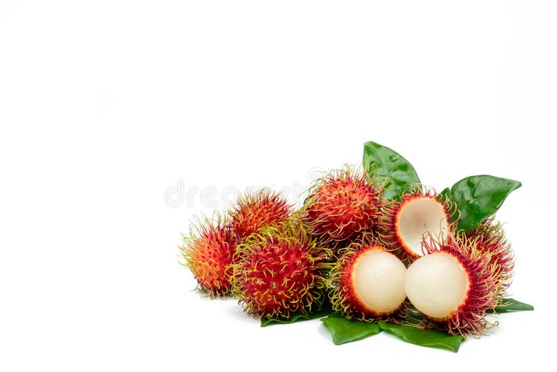 Nahaufnahme frischen roten reifen Rambutan Nephelium lappaceum stockfotos