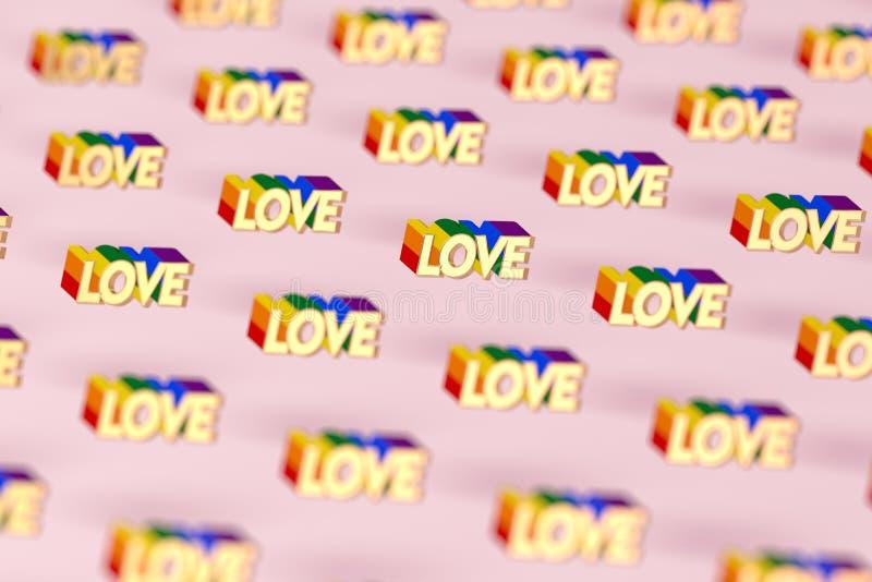 Nahaufnahme geschossen auf goldenem LIEBES-Wort mit Regenbogenentwurfsmuster Juni als Monat des Konzeptes des homosexuellen Stolz stock abbildung