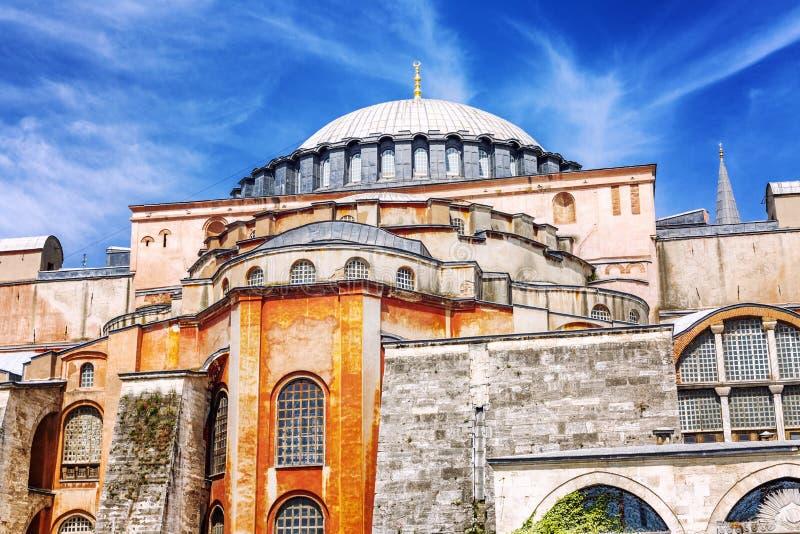 Nahaufnahme Hagia Sophia Cathedral Schöne Ansicht eines klaren blauen Himmels an einem sonnigen Tag stockbild