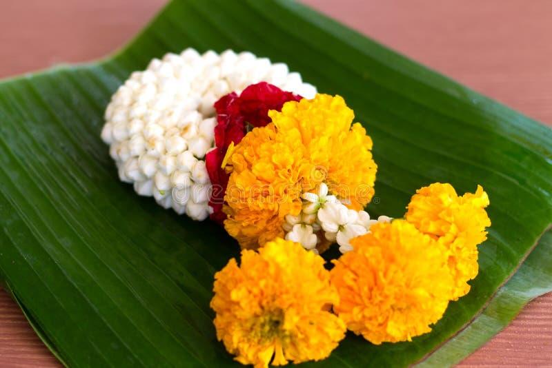 Nahaufnahme-Jasmingirlande der Blume auf dem Bananenblatthintergrund lizenzfreies stockfoto