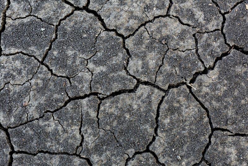 Nahaufnahme knackte den Schwarzerdeboden wegen des heißen sumer ohne Regen Trockene Jahreszeit, agrucultural Unfall Globales Aufw stockfoto