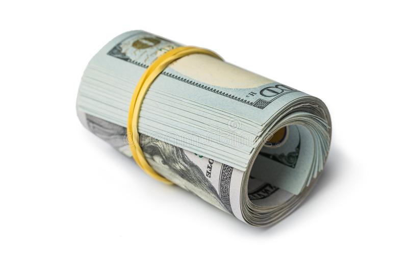 Nahaufnahme rollte amerikanische Dollarbanknoten stockfoto