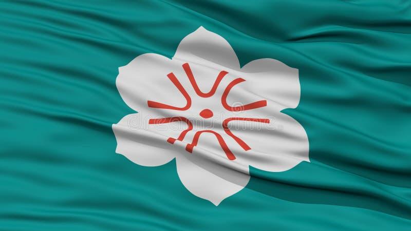 Nahaufnahme-Saga-Japan-Präfektur-Flagge stock abbildung