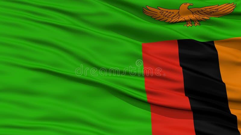 Nahaufnahme-Sambia-Flagge stockbilder
