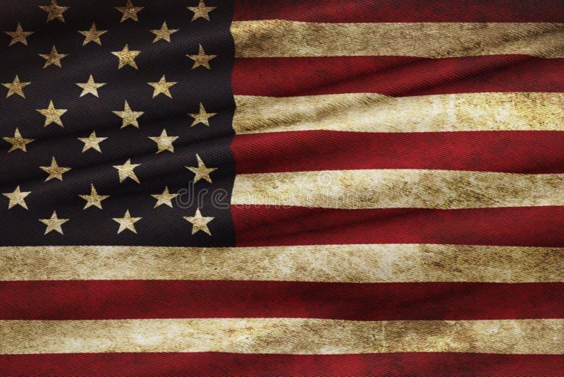 Nahaufnahme Schmutz amerikanischer USA-Flagge, Staaten von Amerika lizenzfreies stockbild