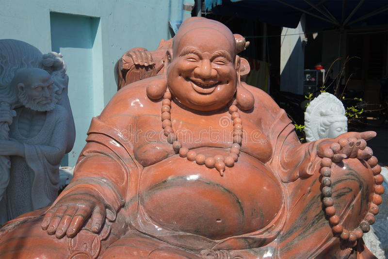 Nahaufnahme Skulptur-glückliche fette Buddhas (Buddha Jila) Danang, Vietnam lizenzfreies stockfoto