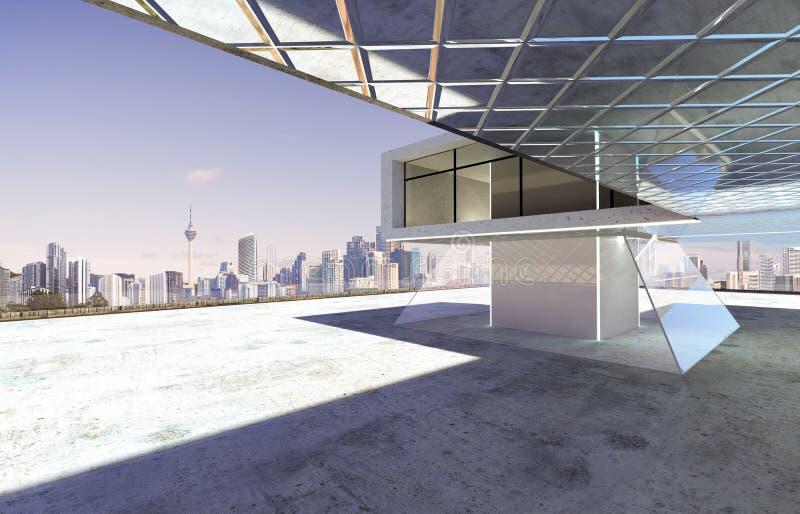 Nahaufnahme und Perspektivenansicht des leeren Zementbodens mit modernem errichtendem Äußerem des Stahls und des Glases stockbild