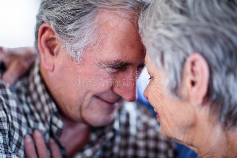 Nahaufnahme von den älteren Paaren, die sich umfassen stockbilder