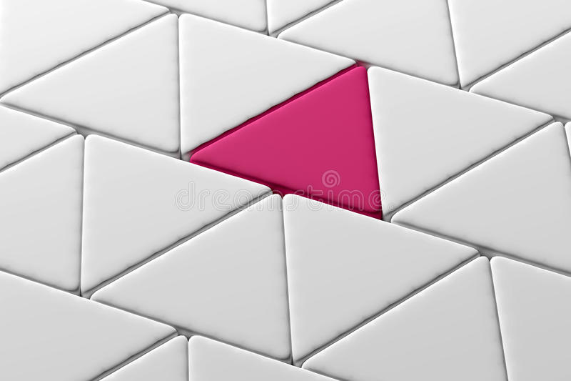 Nahaufnahme von einem rosa Dreieck unter weißen Dreiecken lizenzfreie abbildung